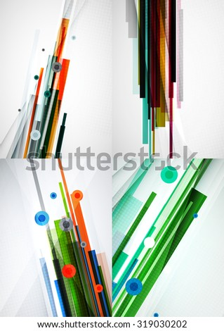 Set of colorful abstract backgrounds. Overlapping color straight lines on light backdrop with art effects - stock photo