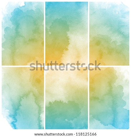 set of colorful Abstract watercolor art hand paint