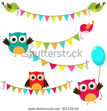 Set of colorful and bright bunting with birds. Raster version - stock photo