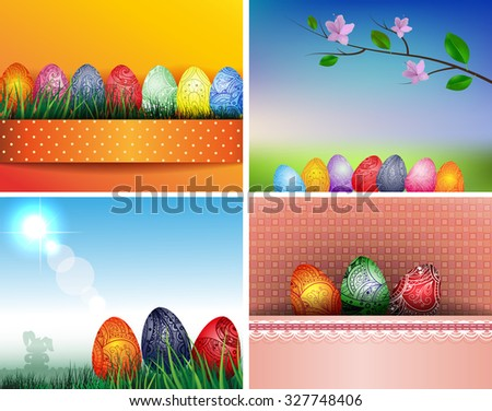 Set of colorful backgrounds with easter eggs. Raster version - stock photo