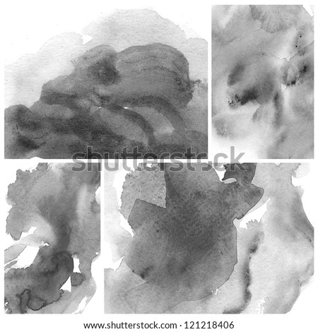 Set of colorful black Abstract watercolor art background hand paint - stock photo