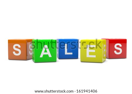 Set of Colorful Boxes Composing English Language Text Sales Concept 3D Illustration