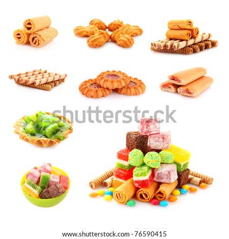 Set of colorful candies jelly on yellow background - stock photo