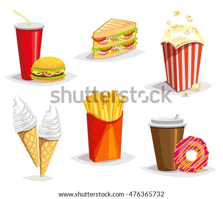 Set of colorful cartoon fast food icons on white background. Rasterized Copy