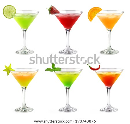 set of colorful cocktails in martini glasses - stock photo