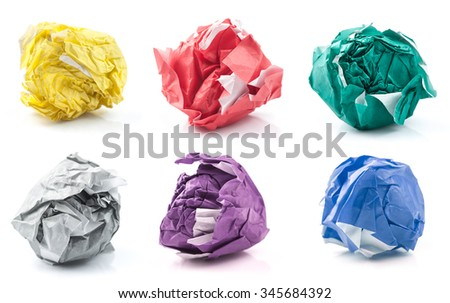 set of colorful crumpled paper balls isolated on white
