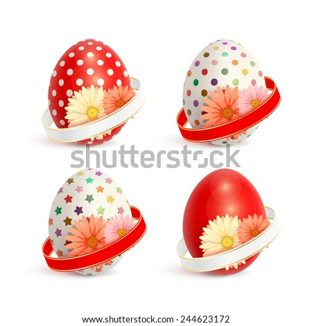 Set of colorful Easter eggs, decorated with ribbons and flowers - stock photo