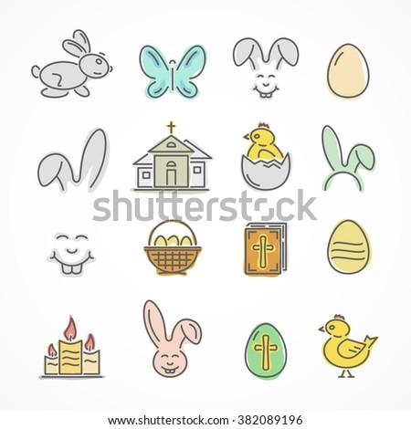 Set of colorful Easter icons isolated on white background, illustration. - stock photo