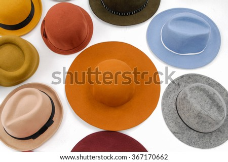 Set of colorful female hat - stock photo