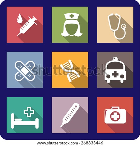 Set of colorful flat medical and healthcare icons depicting a syringe, nurse, stethoscope, bandages, plasters, DNA molecule, ambulance, hospital bed, thermometer and first aid kit - stock photo