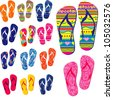 set of colorful flip flops isolated on white background. Collection of design elements. illustration - stock vector