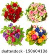Set of colorful flowers bouquet isolated on white background. Festive arrangement for Birthday, Wedding, Mothers Day, Easter, Holidays and Life Events - stock photo