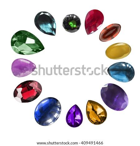 Set of colorful gem stones on white background - stock photo