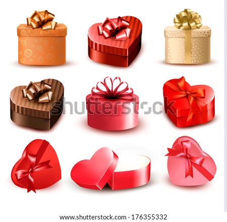 Set of colorful gift heart-shaped boxes with bows and ribbons. Raster version - stock photo
