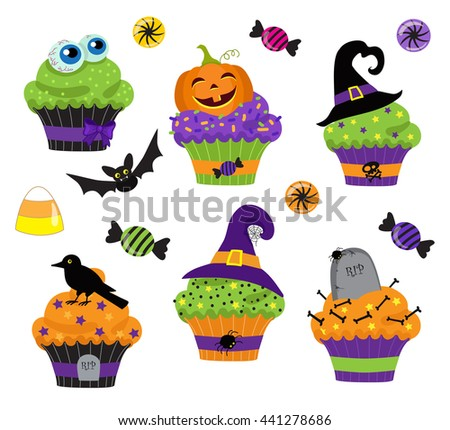 Set of colorful halloween sweets, cupcake and candies icons. Raster copy. - stock photo