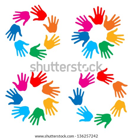 Set of Colorful Hand Print icons, raster illustration - stock photo