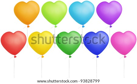 Set of colorful heart shape balloons isolated on white