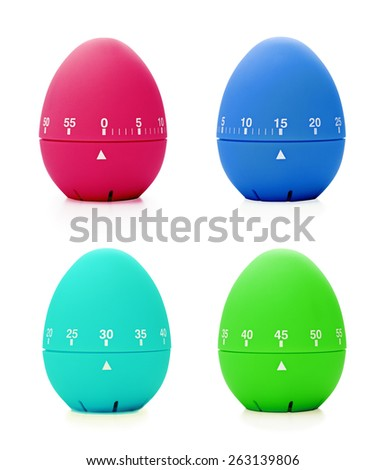 Set of colorful kitchen timers with different time value: 0, 15, 30, 45 minutes. - stock photo