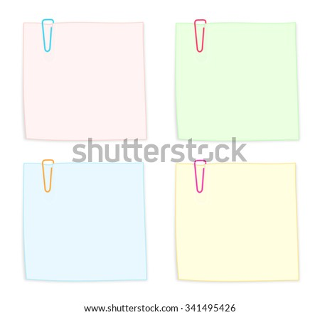 Set of Colorful Notes with Paper Clips Isolated on White Background Illustration - stock photo