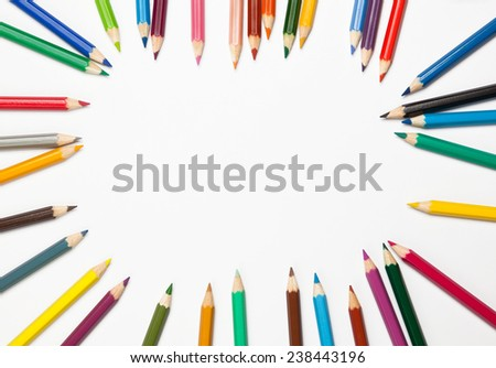 set of colorful pencils on white background - stock photo