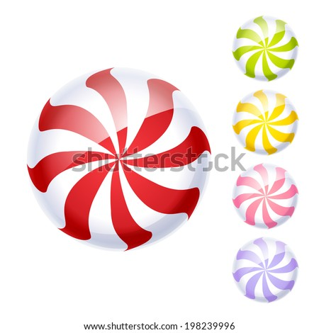 Set of colorful peppermint candies. - stock photo