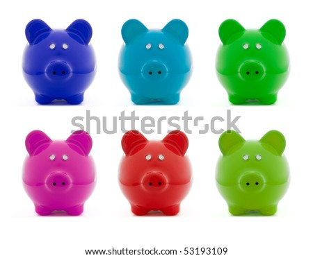 Set of colorful piggy bank objects isolated on a white background, concept savings - stock photo
