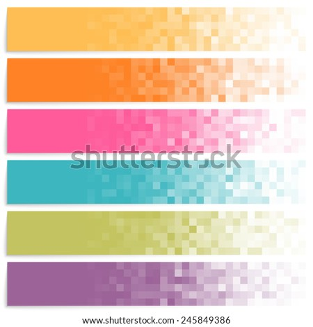 Set of colorful pixel banners. - stock photo