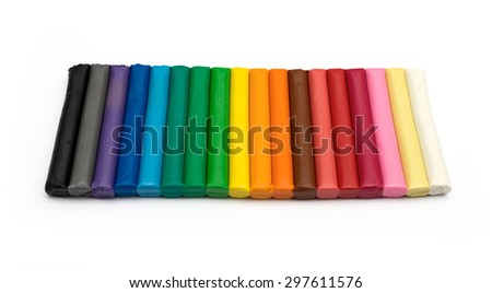 Set of colorful plasticine isolated on a white background - stock photo