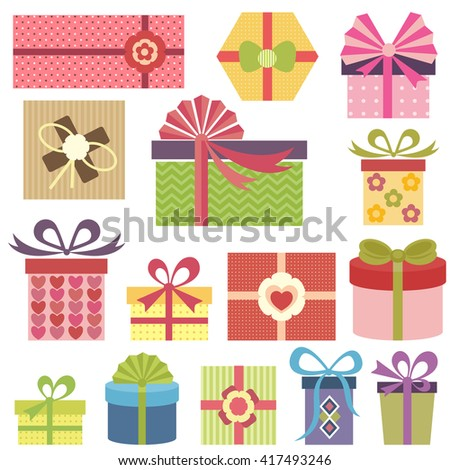 set of colorful presents. Raster version - stock photo