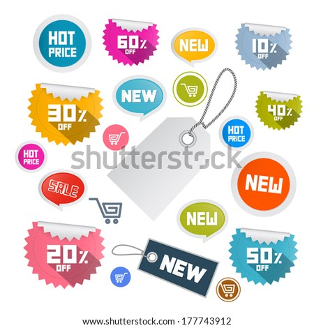 Set of Colorful Retro Paper Discount Labels, Tags