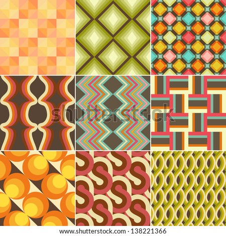 Set of Colorful Retro Seamless Pattern Wallpaper - stock photo