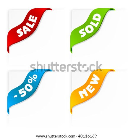 set of colorful sale labels, ribbons
