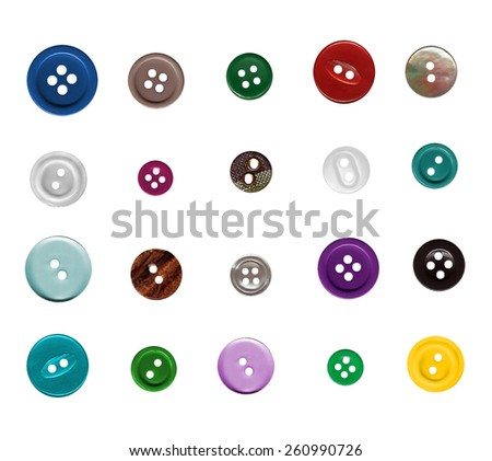 Set of colorful sewing buttons isolated on white background - stock photo