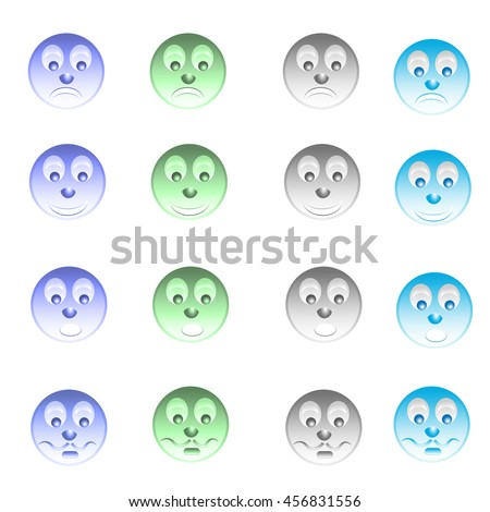 set of colorful smiles for web design