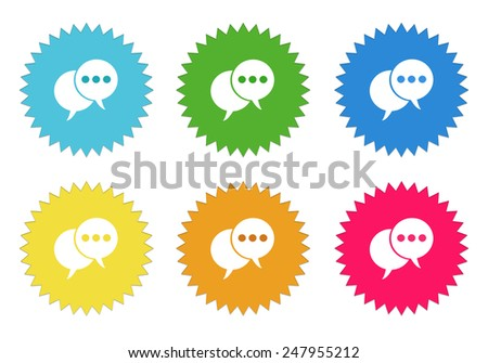 Set of colorful sticker icons with bubble speeches symbol in blue, green, yellow, red and orange colors - stock photo