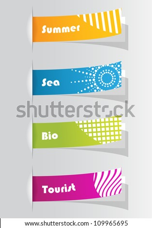 set of colorful stickers for your website