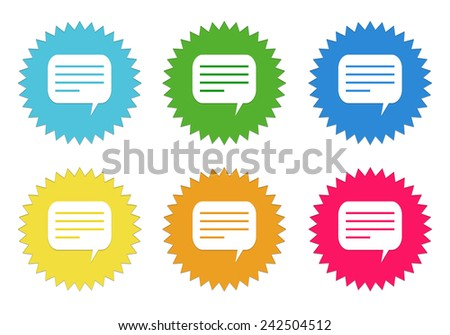 Set of colorful stickers icons with conversation symbol in blue, green, yellow, red and orange colors - stock photo