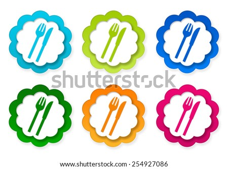 Set of colorful stickers icons with restaurant symbol in blue, green, pink and orange colors
