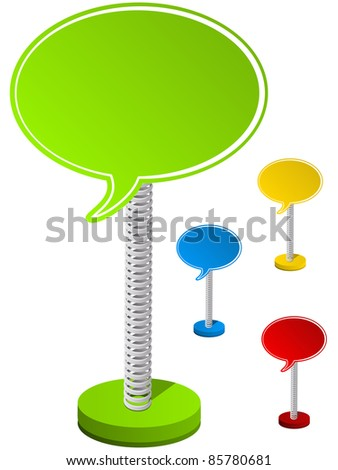 Set of Colorful Text Box on Metal Spring - stock photo