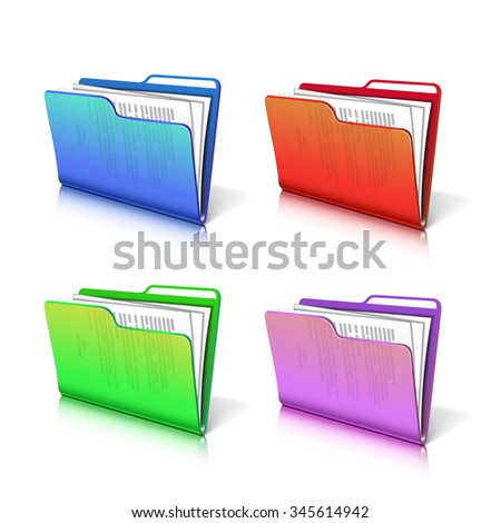 Set of colorful  transparent folder with papers. Document icon.  - stock photo