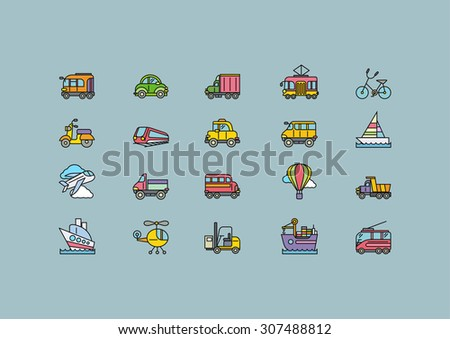 Set of colorful transport thin, lines, outline, strokes icons. Different kinds of transport airplane, bicycle train automobile, balloon, ship, sailboat. For web and mobile applications. Raster version - stock photo