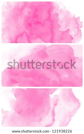 Set of colorful various Abstract pink watercolor art background hand paint - stock photo