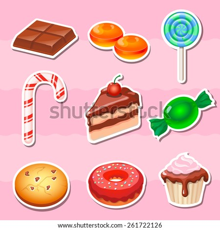 Set of colorful various candy, sweets and cakes stickers. - stock photo