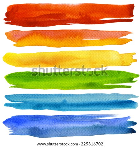 Set of colorful watercolor brush strokes. Isolated on white. - stock photo