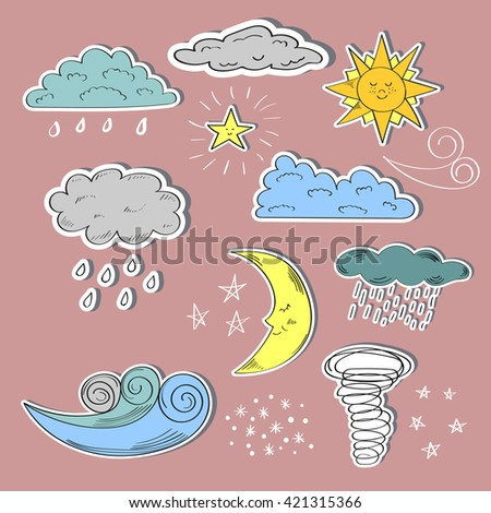 Set of colorful weather icons. Cute sun, moon, wind, and clouds. Raster. - stock photo