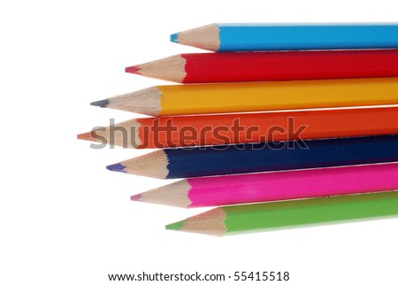 Set of colour pencils in a wooden frame on a white background
