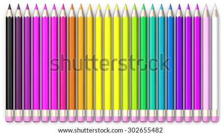 Set of coloured pencil. Pencils are aligned and sorted using rainbow colours.  - stock photo