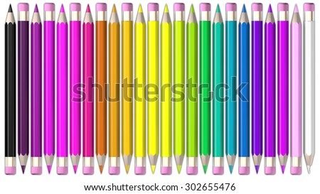 Set of coloured pencil. Pencils are aligned head to tail and sorted using rainbow colours.   - stock photo