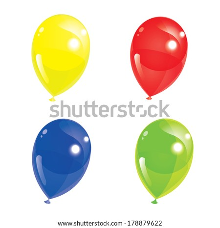 Set of colourful balloons - stock photo