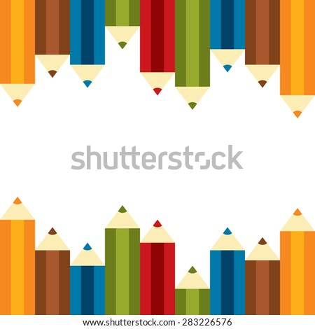 Set of Colourful Crayon, Coloured Pencils, Colored Drawing Pencils in a Variety of Colors Isolated on White Background - stock photo